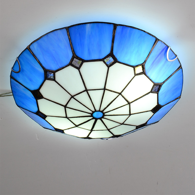 12 Inch Mediterranean Blue Plafond Lamp Fashion Bedroom