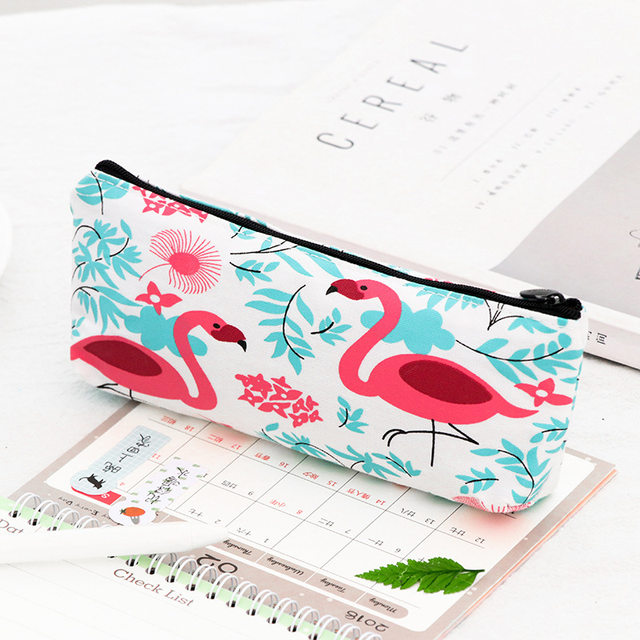 1pcs Flamingos Doodle School Supplies Pencil Case Kawaii Student Cosmetic Bag For Women Office Escolar Canvas