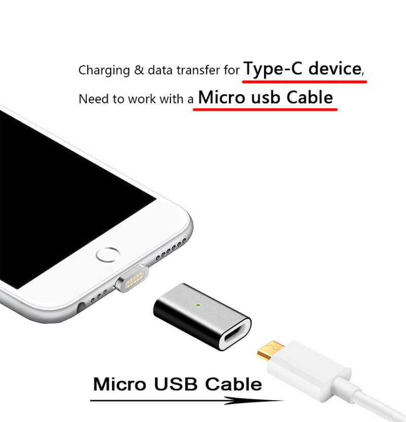 Adaptador magnético de carga rápida CANDYEIC para iPhone Android tipo C Micro USB 2,0 dispositivo a Cable Micro USB