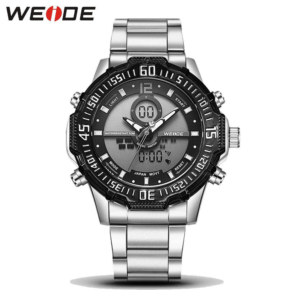 Weide Brand Fashion Casual Digital Watch Men Led Full Steel Mens Sport Quartz-Watch Military Army Male Watches relogio masculino new fashion mens watches gold full steel male wristwatches sport waterproof quartz watch men military hour man relogio masculino
