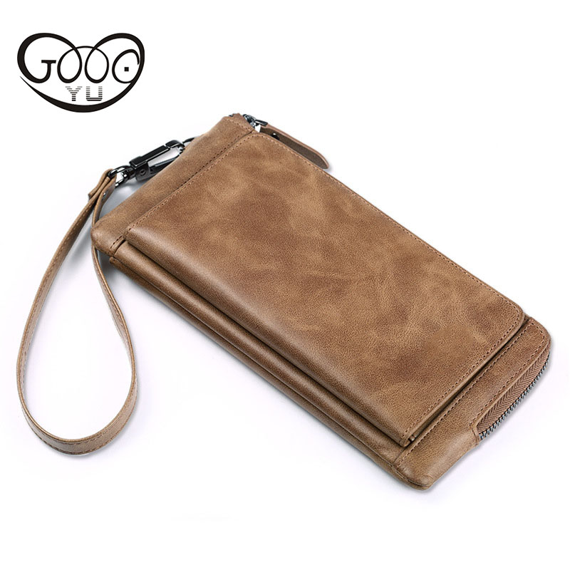 New cross-style square solid color retro wind men's wallet first layer of leather multi-card bit large-capacity mobile wallet the 2018 new first layer of real leather ma am oil wax retro high capacity multi card bit long wallet clutch ma am genuine