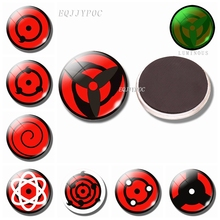 Luminous NARUTO Anime 30MM Magnet Fridge Sharingan Decoration Refrigerator Glass Dome Uchiha Sasuke Magnetic Stickers for