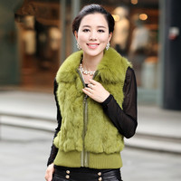 Autumn Ladies' Real Natural Rabbit Fur Vest Fox Fur Collar Women Fur Sweater Waistcoat Female Gilet VF0586