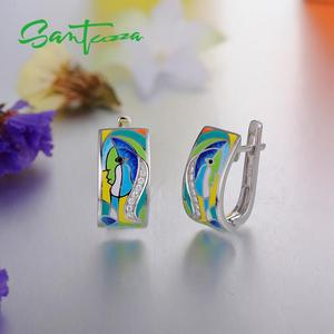 Image 5 - SANTUZZA Silver Earrings For Women 925 Sterling Silver Face Earrings White CZ  Stones Fashion Jewelry Colorful Enamel Handmade