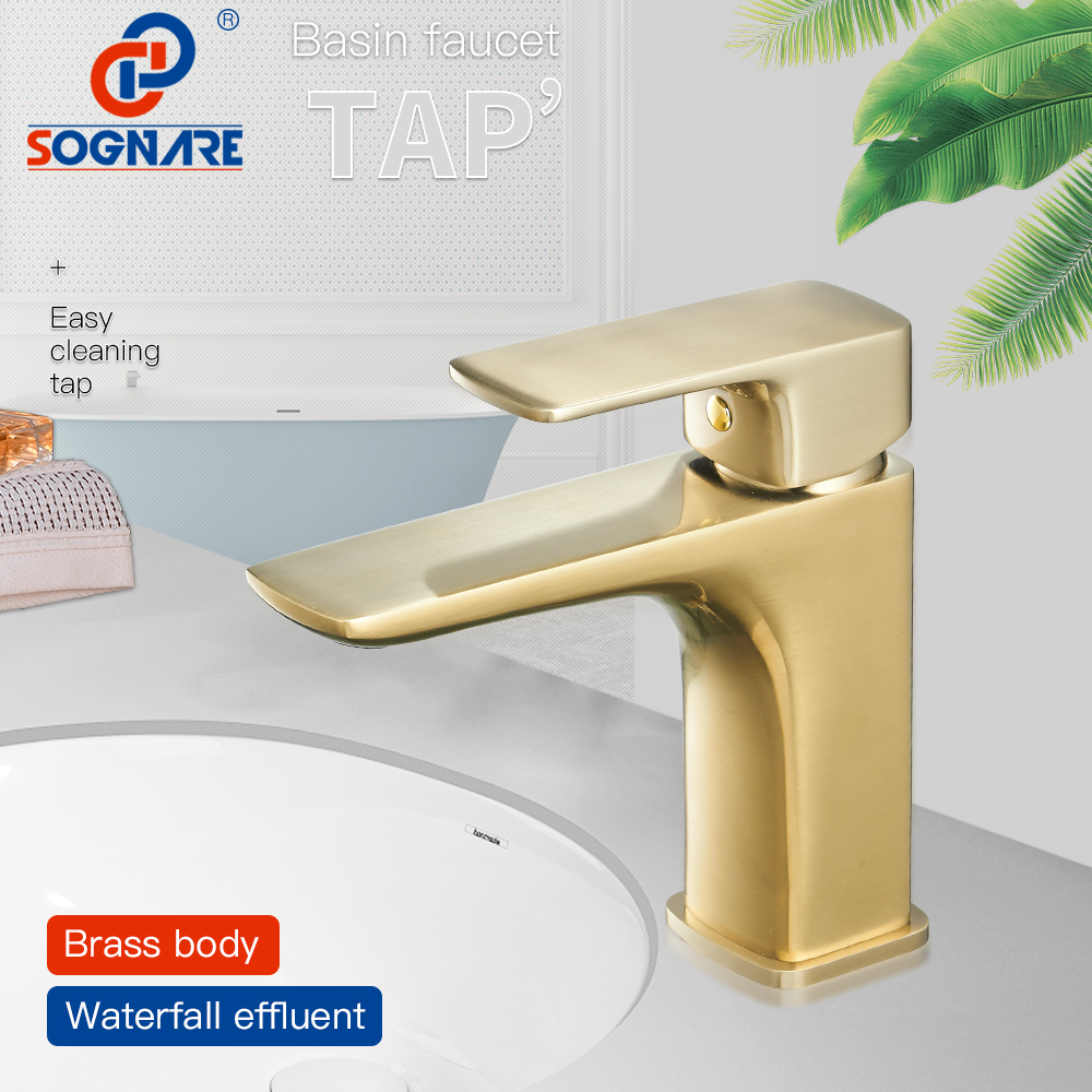 SOGNARE Basin Faucet Bathroom Faucets in Brushed Gold Taps for Bathroom Sink Faucet Single Handle Cold and Hot Water Mixer Tap  SOGNARE Basin Faucet Bathroom Faucets in Brushed Gold Taps for Bathroom Sink Faucet Single Handle Cold and Hot Water Mixer Tap