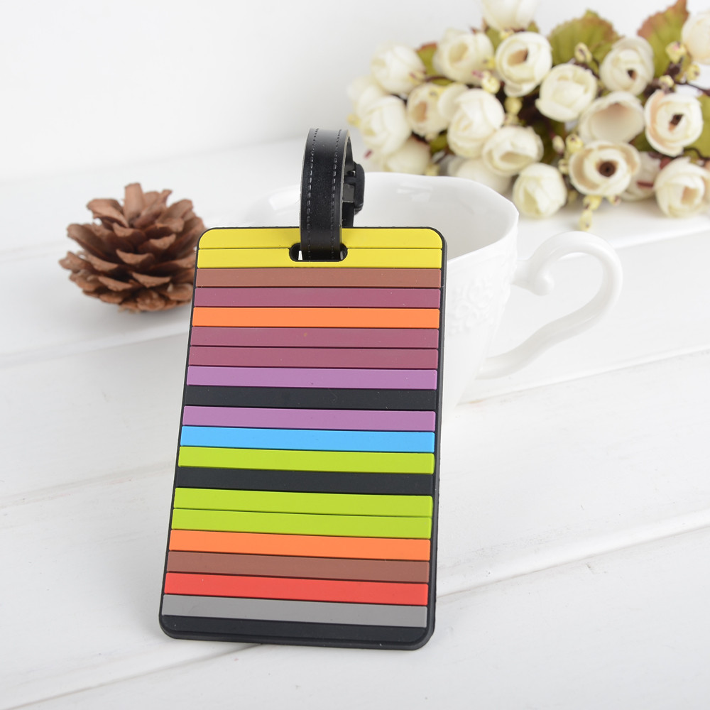 Multicolor Stripes Luggage Tags Travel ID Address Holder Silicone Identifier Accessories 100% Brand New Suitcase Label Wholesale