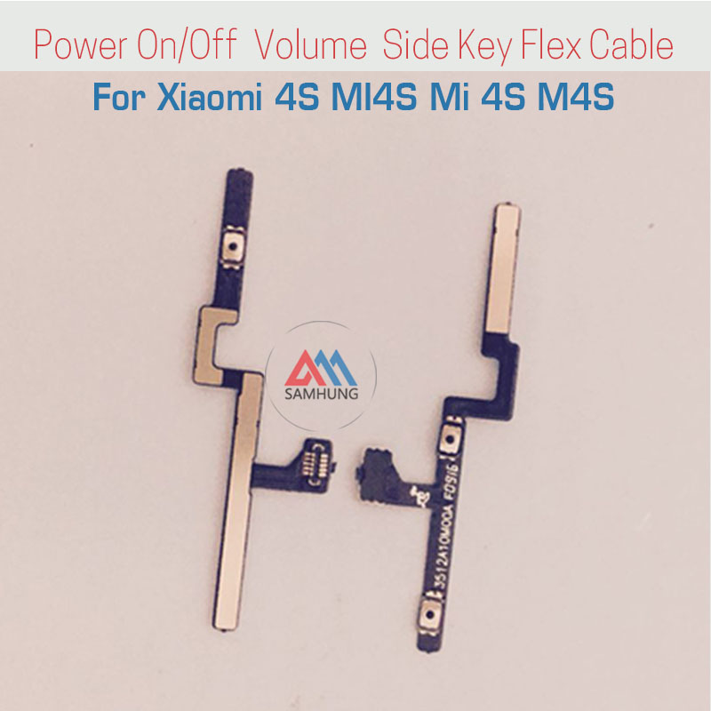 Replacement Repair Parts Power On/Off Buttons & Volume Up/Down Side Key Flex Cable For Xiaomi 4S MI4S Mi 4S M4S