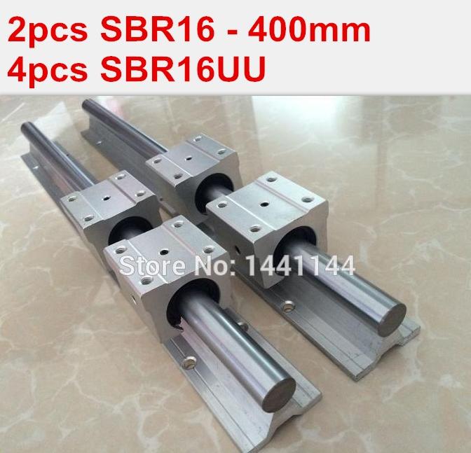 2pcs SBR16 - 400mm linear guide + 4pcs SBR16UU block for cnc parts 2pcs sbr16 l1000mm linear guide 4pcs sbr16uu block cnc router