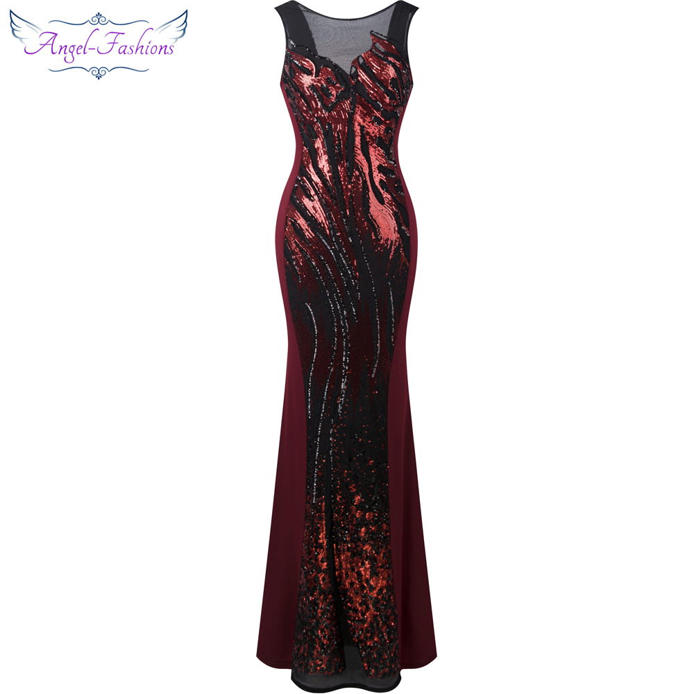 Angel-fashions Sheer Round Neck Sequin Splicing Backless Mermaid Long   Evening     Dresses   Burgundy 348