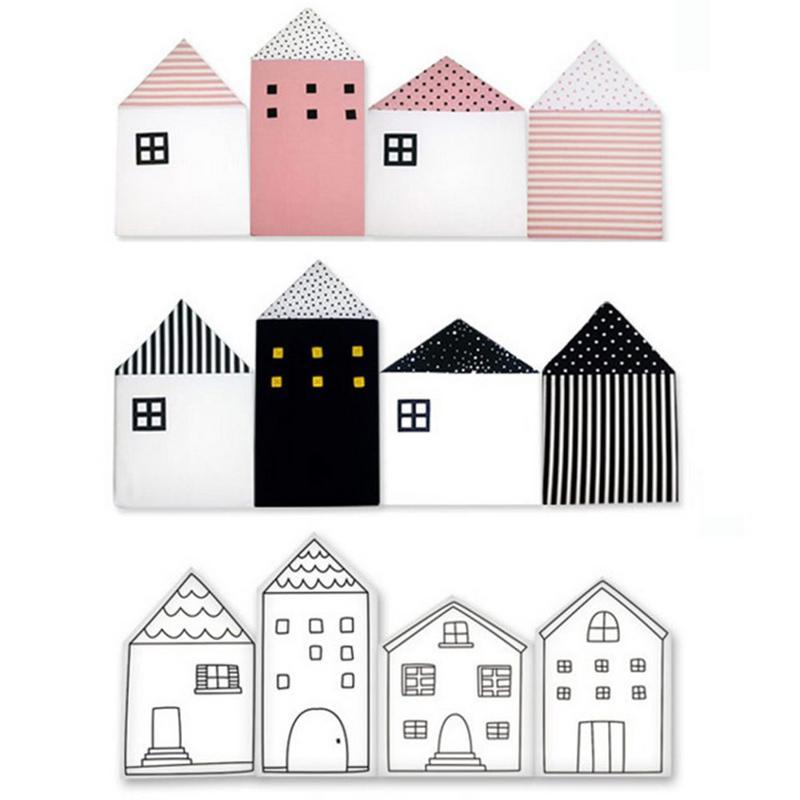 Coton bébé berceau pare-chocs Style nordique petite maison forme lit clôture empêche bébés coincé lit berceau protecteur lit pare-chocs 4 PC Pack