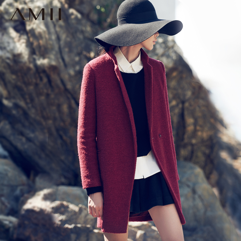Amii Casual Women Woolen Coat 2017 Winter Covered Button Solid Turn down Collar Female Wool Blends
