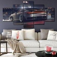 Carteles de lona decoración del hogar Marco de arte de pared 5 piezas pinturas Porsche 911 GT para sala de estar HD impresiones coche moderno fotos