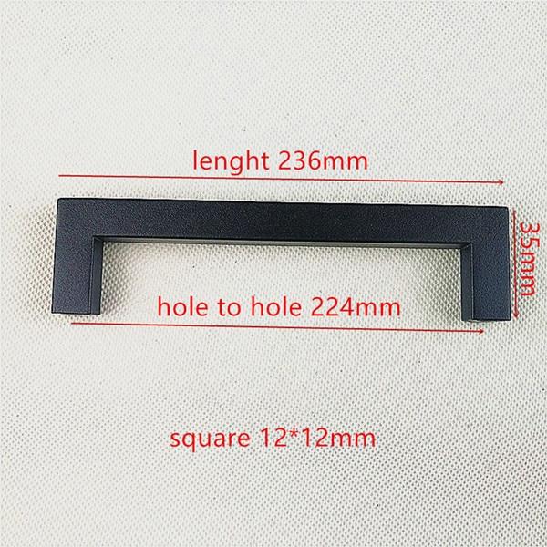 """Матовая черная квадратная ручка из нержавеющей стали Ручка для кухонной двери мебельный ящик """"~ 24"""" - Цвет: Hole spacing 224mm"""