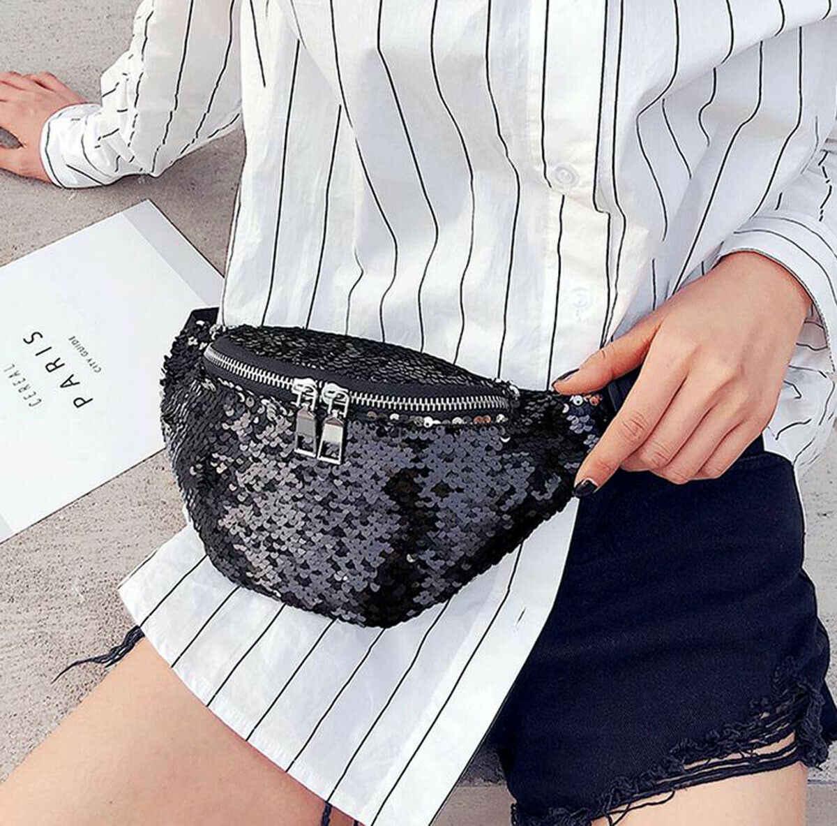 新スタイルの女性のファッション可逆マーメイドスパンコールウエストバッグ女性 PU スポーツファニーパックポーチヒップ財布