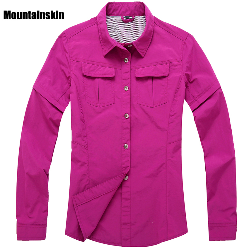 2018 Women Removable Sleeve Quick Drying Shirts Sports Clothes Outdoor Breathable Hiking Tops Fishing Hiking Shirts RW054