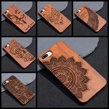 Мандала Henna древесины бамбука чехол для iPhone 7 6 6 S 5S плюс Coque для Samsung Galaxy S7 мобильного чехол для телефона деревянный ПК Жесткий Чехол