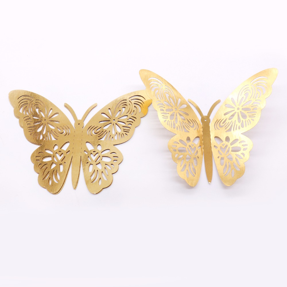 12pcs gold silver 3D Wall Stickers Butterflies Hollow DIY Home Decor ...