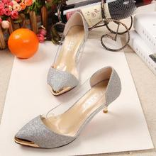 2017 Sexy Red Bottom High Heels Zapato Mujer Gold Silver Black Office & Career Ladies Shoes See Through Mental Shiny Pumps Woman