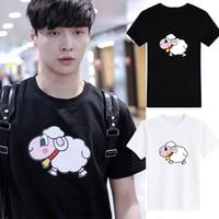 EXO Kpop LAY the same Cartoon TShirt Women Loose Cotton T shirts Harajuku Short Sleeve kawaii Tee Shirt female Streetwear tops