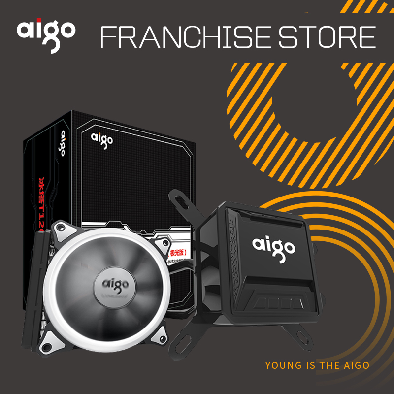 Aigo Liquide CPU Cooler Tous-En-Un de L'eau De Refroidissement 120mm PWM Fan LED Lumière boîtier de l'ordinateur de bureau radiateur LGA 775/115x/AM2/AM3/AM4
