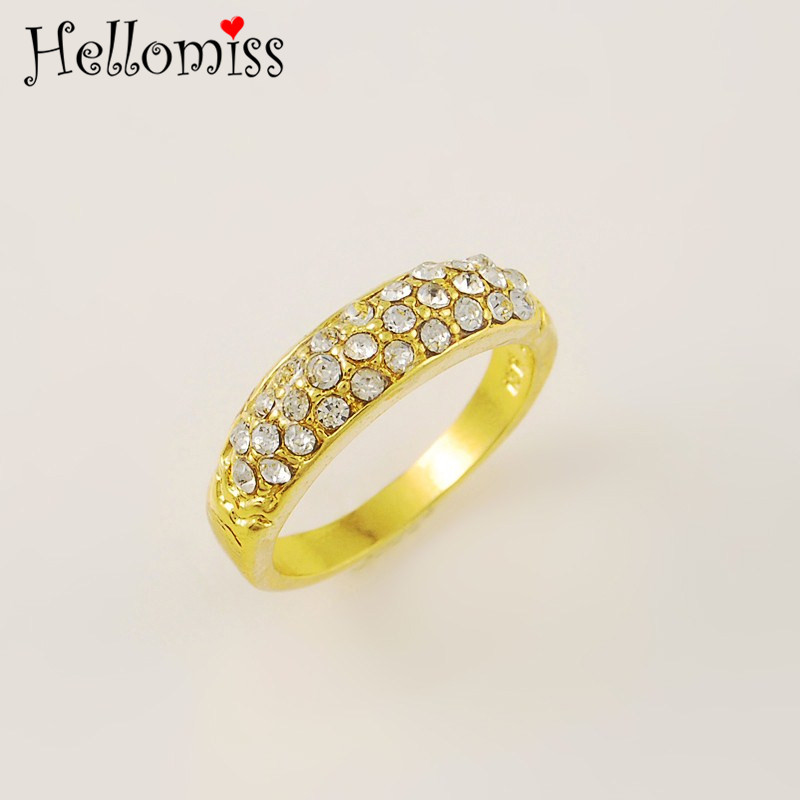 AAA Cubic Zirconia Rings for Women Yellow Gold Color Ring Dubai Gold Jewelry Bijoux Wedding Bridal Accessories Gifts Bague Femme