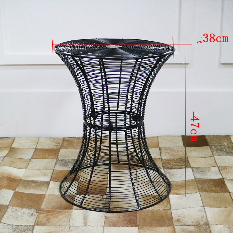 Metal Wire Tea Table Simple and Modern Solid Iron Small Round Table Living Room Small Creative Small Coffee Table coffee table simple modern creative small coffee table round folding tea table small size living room wood tea table