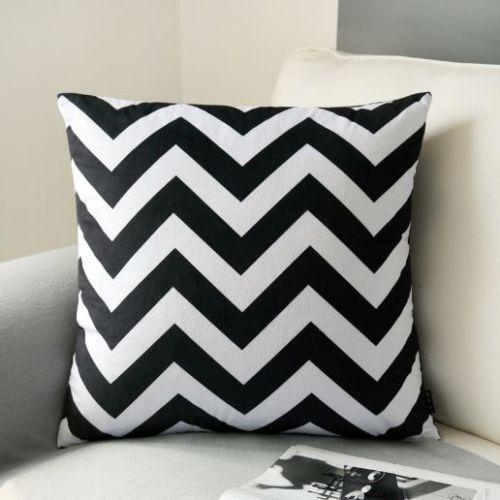 Black White Chevron Zig Zag Velvet Cushion Cover