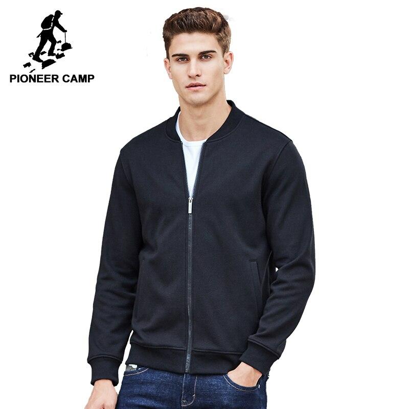 Pioneer Camp chaud épaisse toison hoodies hommes marque vêtements solide casual fermeture éclair sweat mâle qualité 100% coton noir 622215
