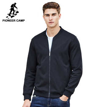 Pioneer Camp warm thick fleece hoodies men brand clothing solid casual zipper sweatshirt male quality 100% cotton black 622215 - DISCOUNT ITEM  54% OFF All Category