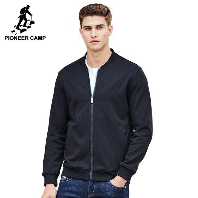 Pioneer Camp warme dicke fleece hoodies männer marke kleidung feste beiläufige zipper sweatshirt männlichen qualität 100% baumwolle schwarz 622215