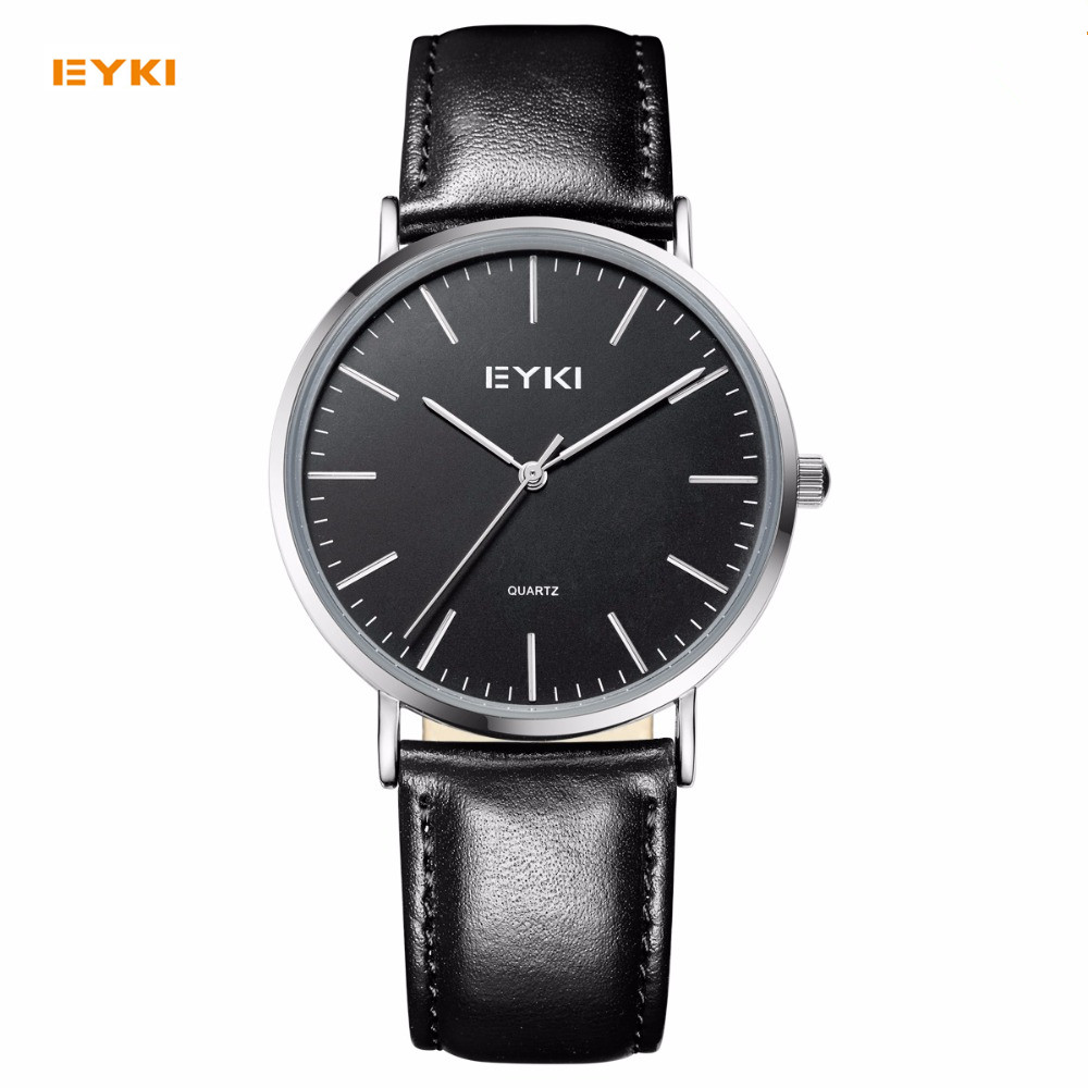 EYKI Men Women Dress Quartz Watch Clock Minimalist Watch Fashion Casual Simple Analog White Black Dial Leather Unisex Wristwatch paidu fashion men wrist watch casual round dial analog quartz watch roman number faux leatherl band trendy business clock