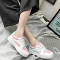 Fashion Patchwork Air Mesh Shoes Women Flats Lace Up Breathable Platform Women Casual Shoes Sport Walking Street