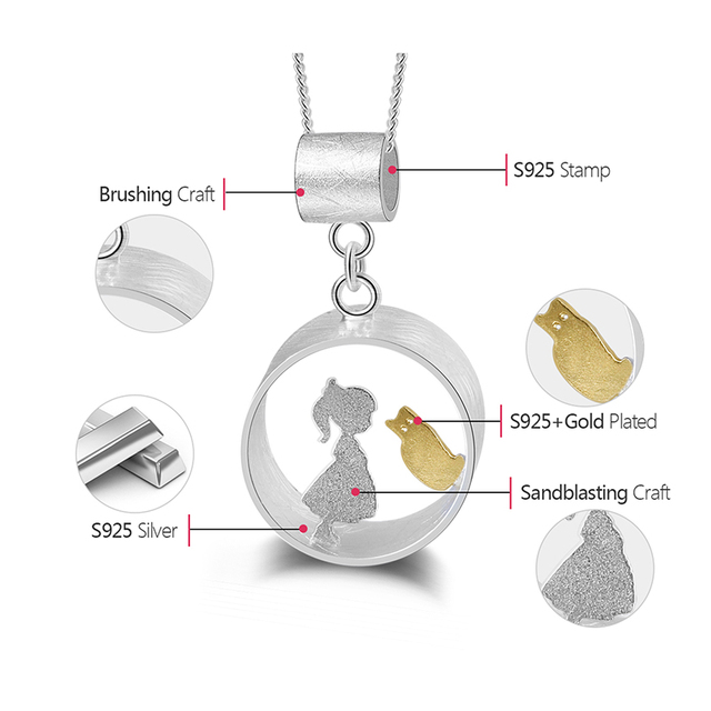 Lotus Fun Real 925 Sterling Silver Creative Handmade Fine Jewelry Meeting Love With Cat Pendant without Necklace for Women Gift 5