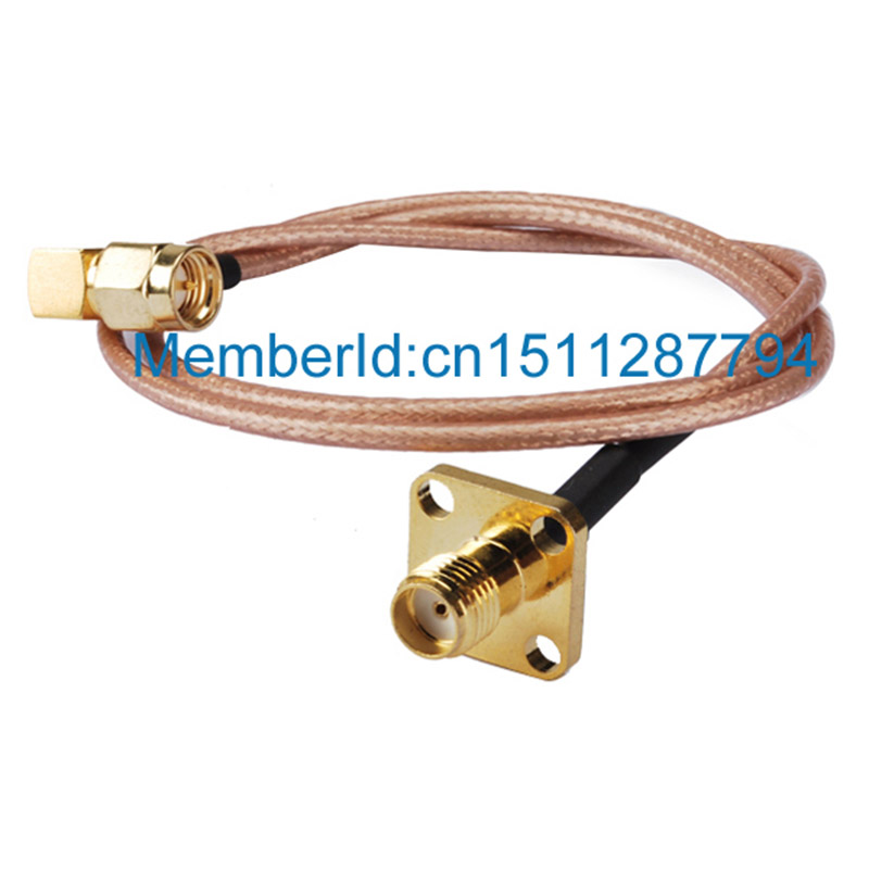ALLISHOP Low Loss SMA Male to SMA Female Flange 50ohm Pigtail Jumper RF Coaxial Cable 5m RG316 allishop 15m sma male to rp sma female rg316d double shielded cable for wifi antenna rf extension ultra low loss