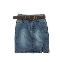 New Women Casual Mini Jean Skirt 2017 Summer Fashion Front Split Denim Skirt Ladies Pockets Sexy