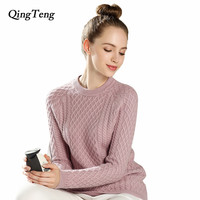 QingTeng High Quality Cashmere Sweater For Women Winter And Autumn Pullover Solid O Neck Knitted Sweater