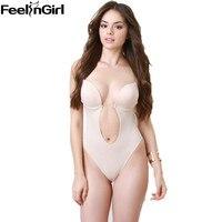 Women S Bodysuit Vestido Backless Shapewear Deep Plunge Thong Slimming Body Shaper Tops Invisible Bra Under