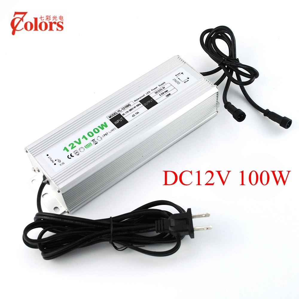 12V 100w Power Supply for LED Light Waterproof IP67 Transformer 220V 12V EU US UK AU Plug LED Driver with 2 male connector 90w led driver dc40v 2 7a high power led driver for flood light street light ip65 constant current drive power supply