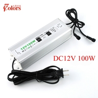 12V 100w Power Supply for LED Light Waterproof IP67 Transformer 220V 12V EU US UK AU Plug LED Driver with 2 male connector