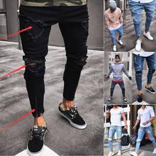 b031c95595 2018 nuevos hombres de la manera ropa Delgado Vaqueros carga flacos agujero  deshilachado Pantalones distressed RIP