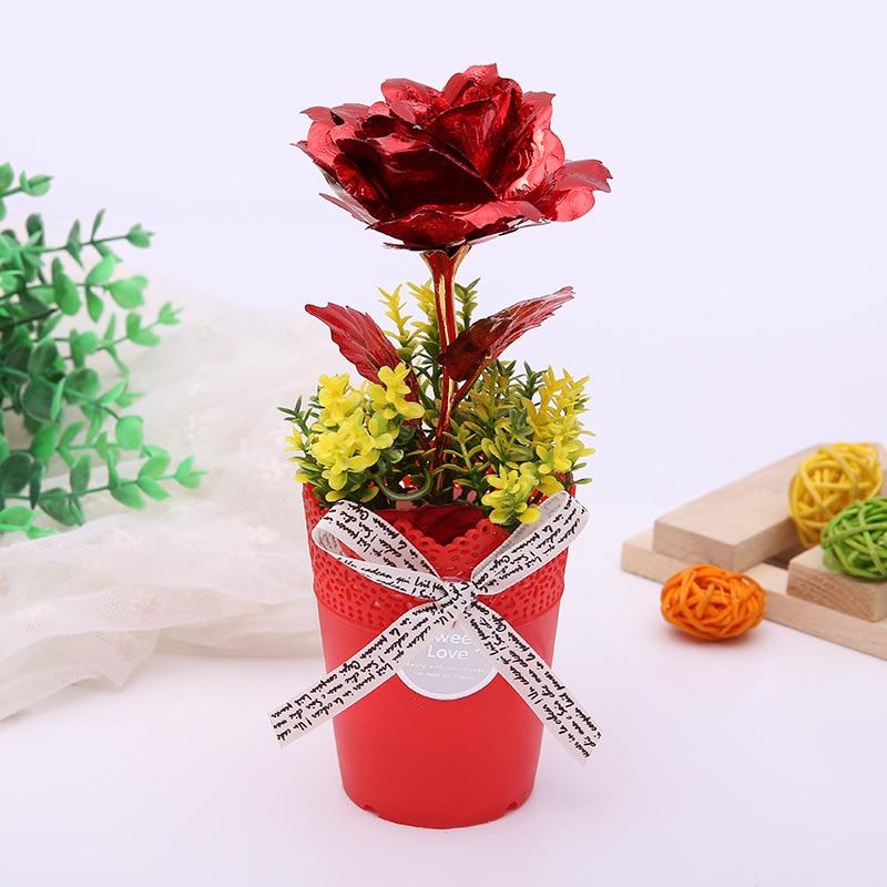 Funique Plants Golden Rose Artificial Flowers Bonsai Home Decor Real