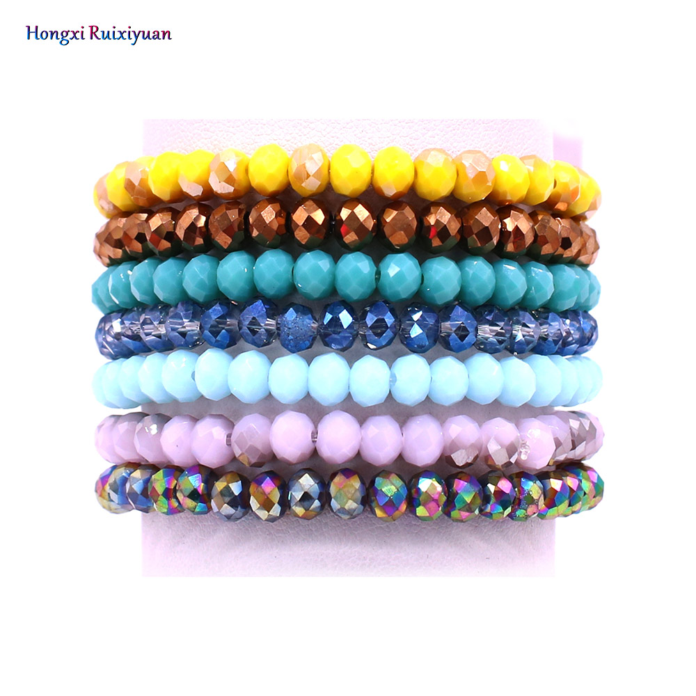 6mm crystal bracelet handmade beaded ladies bracelet fashion quality 19 color crystal beads charm bracelet friendship jewelry