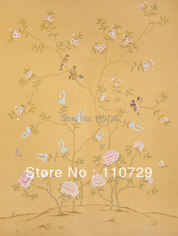 Customized Hand painted silk wallpaper painting Peony with birds hand-painted TV/Bedroom/living room/dinning/Sofa wall paper chi clothing clothes hand painted performance clothing blue and white peony stretch silk female artists painted custom