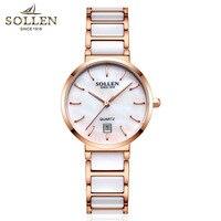 2018 Luxury Brand Lady Ceramics Watch Women Dress Watch Fashion Rose Gold Quartz Watches Female Wristwatches Montre Femme