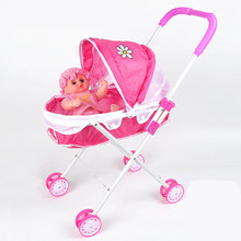 simulation baby toy Simulation Play Toy Girl Kids Children Pretend Play Furniture Toys Baby Doll Stroller Pram Pushchair gift(China)