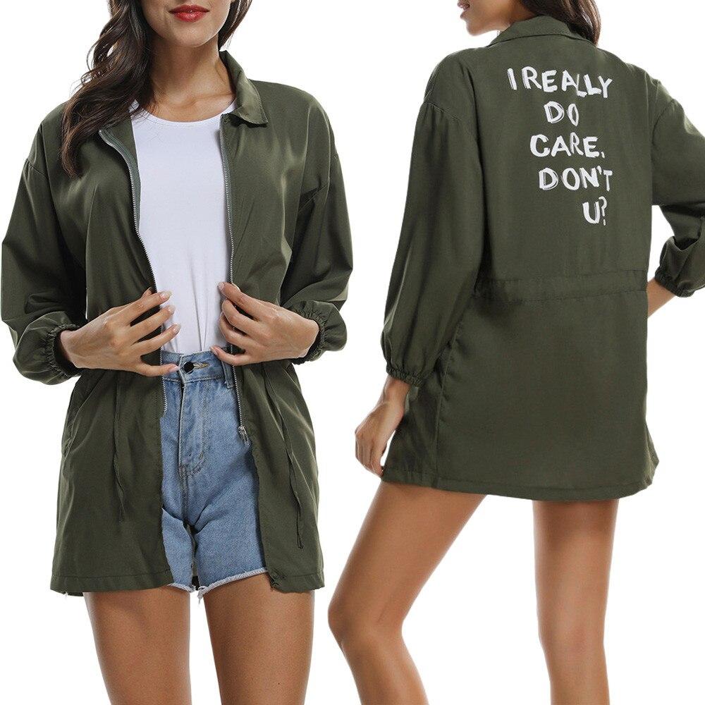 Des Tops Longues Imprimé Kimono Lâche Femelle Lettre Bas Manteau Le Femmes Vers Casual Green Cardigan Army Manches Muqgew À Veste 4OwFqv46
