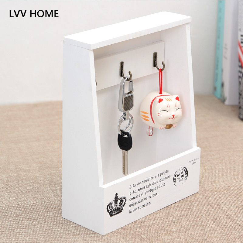 LVV HOME Multifunctional wooden shelf/Vintage wall-mounted key box Desktop groceries finishing boxes Household storage box