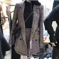 Women's new fashion slim temperament houndstooth suit jacket take a mini skirt simple two suit JQ36