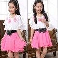 2016 новый студент потребляют Шифон сладкая принцесса детские платья детская одежда для 6-15 лет бесплатная доставка