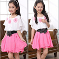 2016 newest student consume  Chiffon sweet princess baby dresses kid clothes for 6-15 years old free shipping